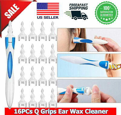 2 handles-32 Pcs heads Ear Cleaner Wax Removal Spiral Soft Swab pick Q-Grips kit