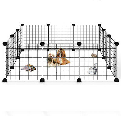 Portable 14Metal Dog Pet Playpen Crate Animal Fence Exercise Cage WDoor 12 Pcs