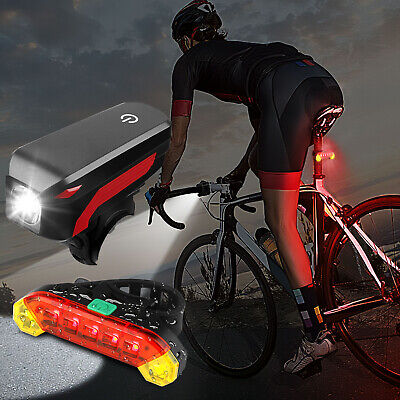 USB Rechargeable LED Bicycle Headlight Bike Head Light Front Rear Lamp Cycling