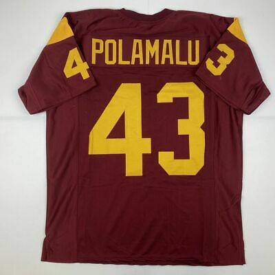 New TROY POLAMALU USC Red College Custom Stitched Football Jersey Size Mens XL