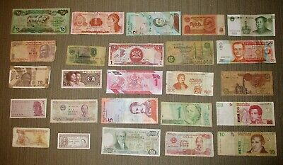 Circulated Lot of 25 Foreign Banknotes World Paper Money Currency Plus BONUS