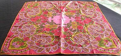 VTG VERA JAPAN FLORAL PAISLEY HAND ROLLED 100 ACETATE SCARF  25 34 x 26