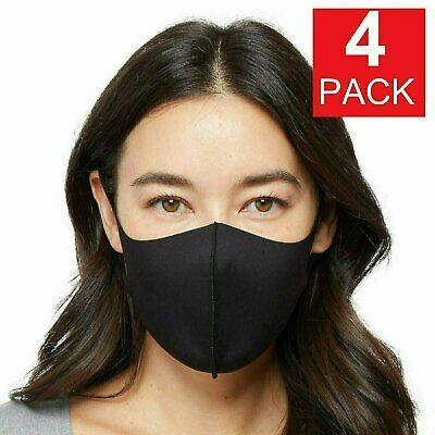 4-Pack Black Soft Cloth Fabric 3D Washable Face Mask  Reusable