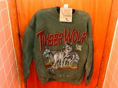 VTG SPIRIT LAKE OUTFITTERS SWEATSHIRT TIMBER WOLF GREEN  LARGE NEW TAGS  USA