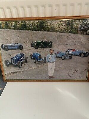 Brooklands Racing Picture Artwork Print Signed  By Peter Gregory 1995