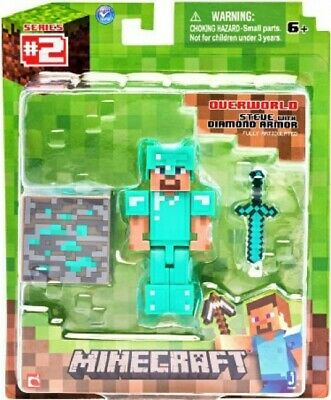 Minecraft Overworld Series 2  STEVE with DIAMOND ARMOR Figure Pack Jazwares