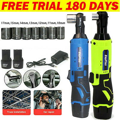 38 Cordless Ratchet Right Angle Wrench Impact Power Tool 2 Battery - 7 Socket