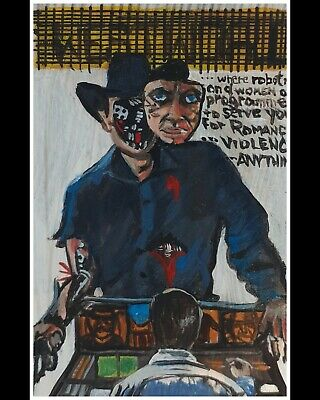 Aceo Original Outsider Horror Naive WestWorld by T Pendino