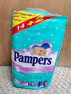Vintage Plastic Pampers Disposable Diapers - EURO - Size 5 - 16 ct