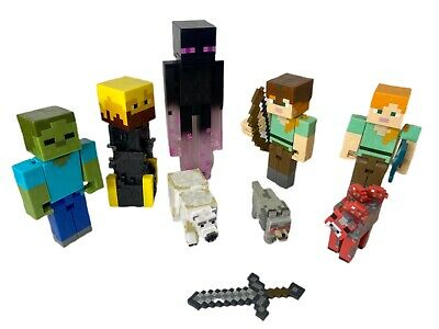 Minecraft 9 Piece Lot Toys Action Figures Animals Steve Creeper Enderman Sword
