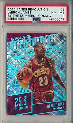 2016-17 Panini Revolution Lebron James By The Numbers Cosmic 69100 PSA 8