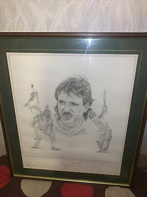 Ian T Botham A Boys Own Hero Limited Edition Signed Print No60 Of 500 Framed