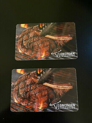 2 Longhorn Steakhouse Gift Cards - 25 Each 50 Total