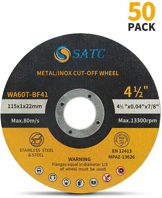 50 Pack Cut Off Wheels 4-12 Metal - Stainless Steel Angle Grinder Cutting Disc
