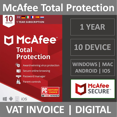 McAfee Total Protection 2021  10 Devices  1 Year  PCMacPhone  Security
