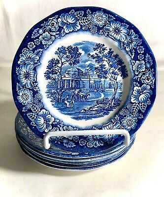 6 Staffordshire Liberty Blue 6 Bread And Butter Plates