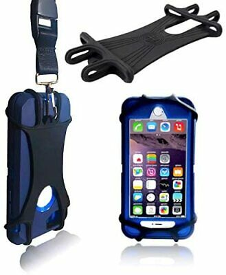 Black Heavy Duty Universal 2 in 1 Lanyard Cell Phone Tether Silicone Neck Strap