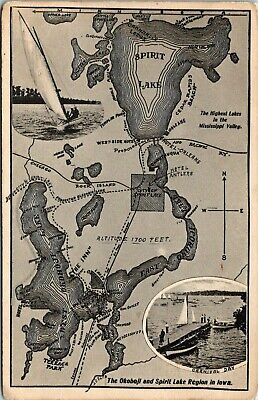 IOWA - OKOBOJI & SPIRIT LAKE REGIONS - MAP & SAILING - OLD POSTCARD VIEW