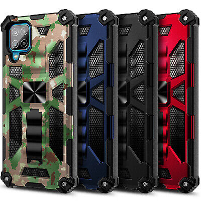 Case For Samsung Galaxy A12 Full Body Armor Kickstand Cover - Tempered Glass
