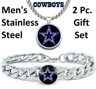 Dallas Cowboys Mens Gift Set Stainless Steel 24 Necklace and Bracelet D4D30