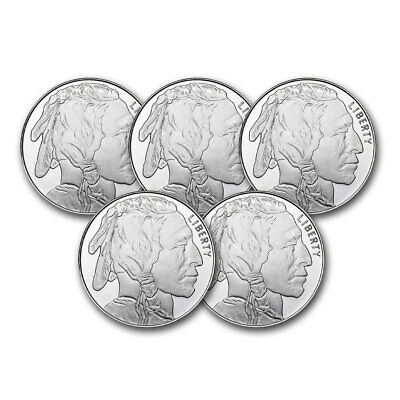 1 oz Silver Round - Buffalo Lot of 5 Coins