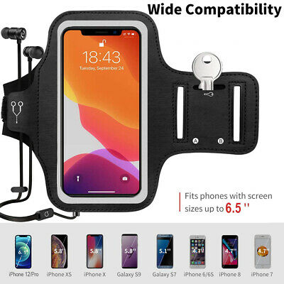 Large Cell Phone Holder Armband Case with Clear Protective Skin - Key Holder