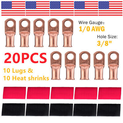 10 10 AWG Gauge Copper Lugs w RED - BLACK Heat Shrink Ring Terminals