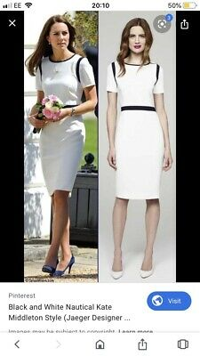 jaeger 14 White Blue Contrast Dress As Seen On Kate Middleton Party