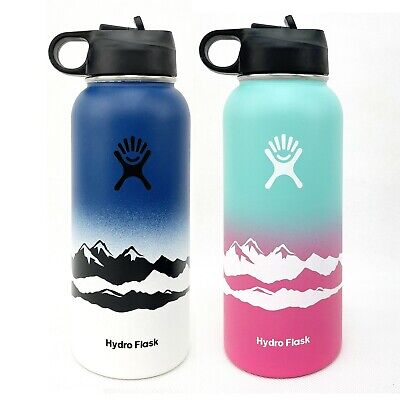 Hydro Flask 32oz Water Bottle Straw Lid Stainless Steel-Vacuum Mountain Design