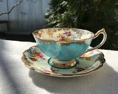 Vintage Paragon DW Turquoise Spring Flowers Teacup and Saucer