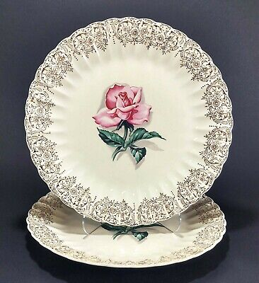 Two American Limoges Le Fleur Rouge 10 Dinner Plates