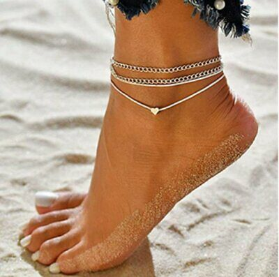New Women Fashion Love Heart Ankle Bracelet Foot Chain Silver White Anklet Gifts