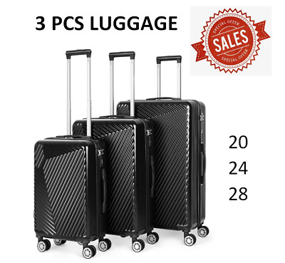 3 Piece Black Luggage Sets Travel Spinner Suitcase Lightweight ABS 20 24 28