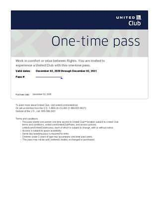 United Airlines Club Lounge One-Time Passes Expire December 2 2021 E-Delivery