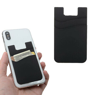 Two Pockets Cell Phone Credit Card Holder Wallet Sticker for Key Money Adhesive