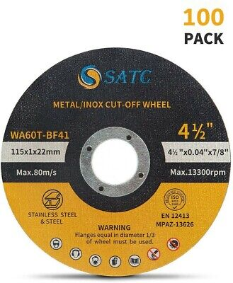 100 Pack Cut Off Wheels 4-12 Metal Stainless Steel Angle Grinder Cutting Disc