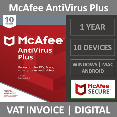 McAfee AntiVirus Plus 2021  10 Devices  1 Year  PCMacAndroid
