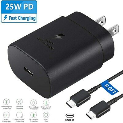 25W Type USB-C Super Fast Wall Charger - 6FT Cable For Samsung Galaxy S20 S21 5G
