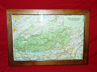 Great Smoky Mountains National Park Framed HUBBARD Raised Relief Topographic MAP