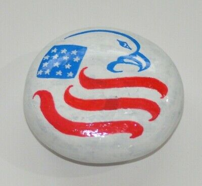 Hand Painted Rock Eagle 4th of July Patriotic Stars and Stripes US Flag Gift