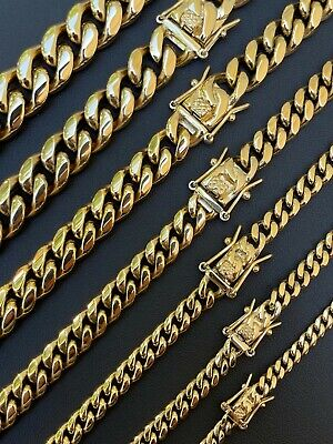 Miami Cuban Link Chain Necklace Or Bracelet 14k Gold Over Stainless Steel 4-14mm