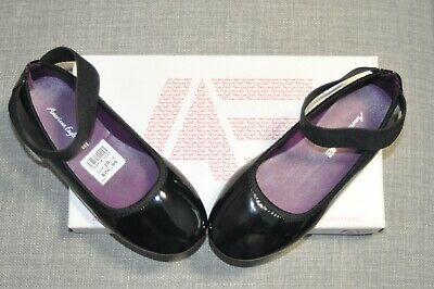 American Eagle Black Patent Ballet Flats Girls Size 10-5 Slip On Shoes NEW