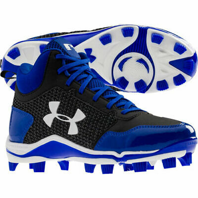 Cleats Youth Boys Under Armour Heater Blue Mid TPU Size 4Y Pre-Owned EUC