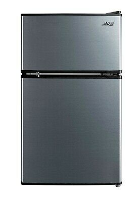 A- King Mini Refrigerator With 2 Door 3-2 Cu Ft Compact Stainless Steel Freezer