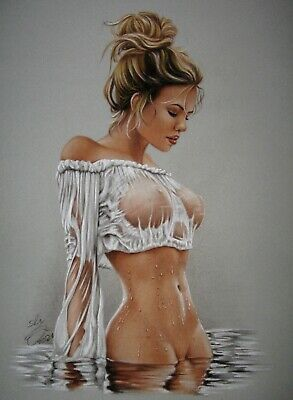 PRINT OF THE ORIGINAL  PIN UP ART by SLY  DRAWING  9465