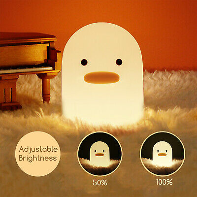 Creative Duck LED Silicone Night Light Children Bedside USB Rechargeable Lamp