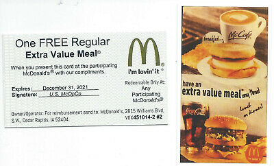 10 Mcdonalds Combo Meal Cards