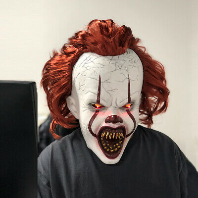 Halloween Mask Latex Cosplay Scary Costume Stephen Kings IT Clown Pennywise