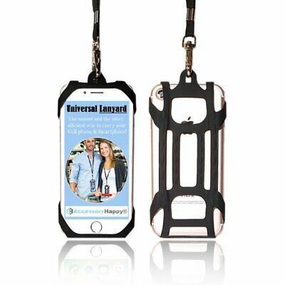 Black universal 2 in1 Lanyard Card Holder Cell Phone Tether Silicone Neck Strap