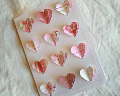 Valentines Day Card Handmade with many hearts folding by paper